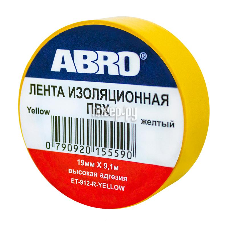 Изолента ABRO 19mm x 0.12mm x 9.1m Yellow ET-912-R-Y