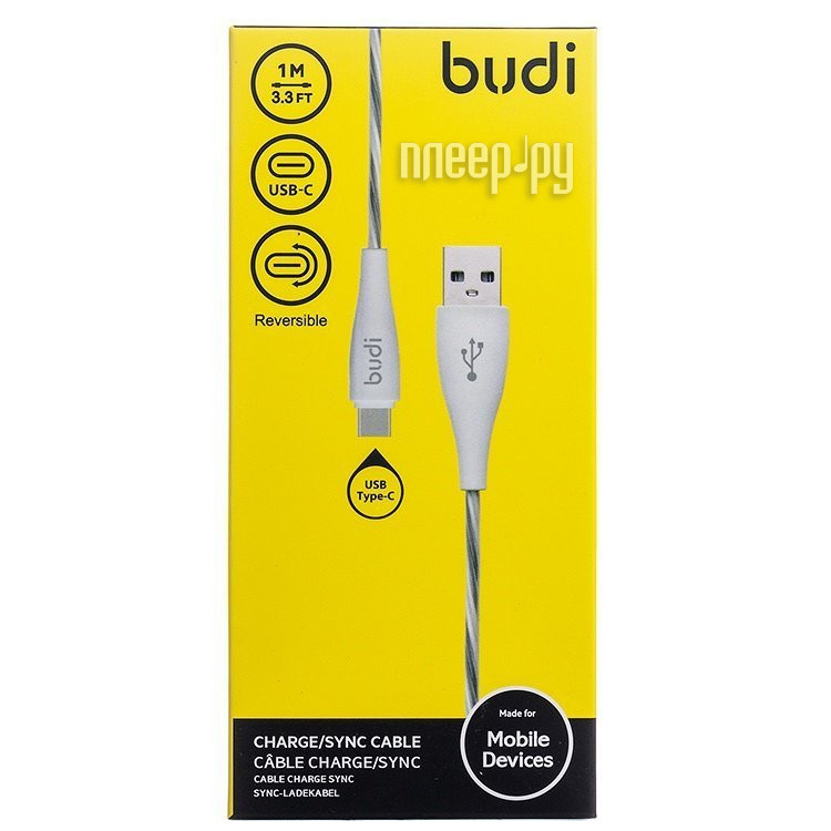 Аксессуар Budi USB - Type-C M8J010TC 1m White