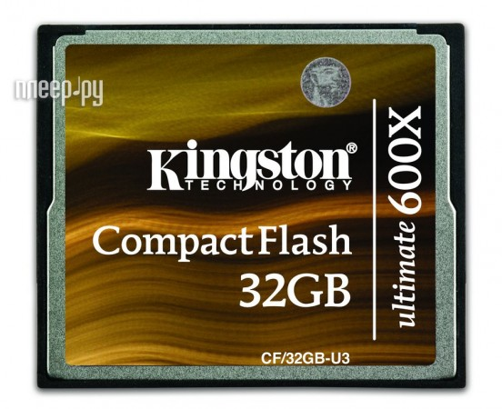 Карта памяти 32Gb - Kingston - Compact Flash Ultimate 600x CF/32GB-U3  Pleer.ru  2091.000