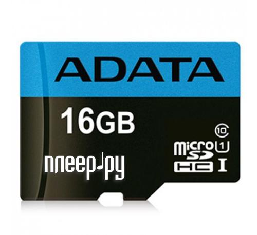 Карта памяти 16Gb - A-Data Premier - Micro Secure Digital HC Class 10 UHS-I AUSDH16GUICL10_85-RA1 с переходником под SD