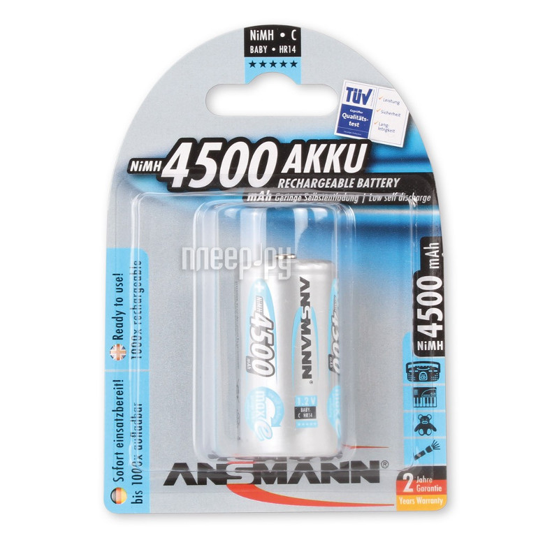 Аккумулятор C - Ansmann R14 4500 mAh Ni-MH бочка (1 шт) 5030632  Pleer.ru  311.000