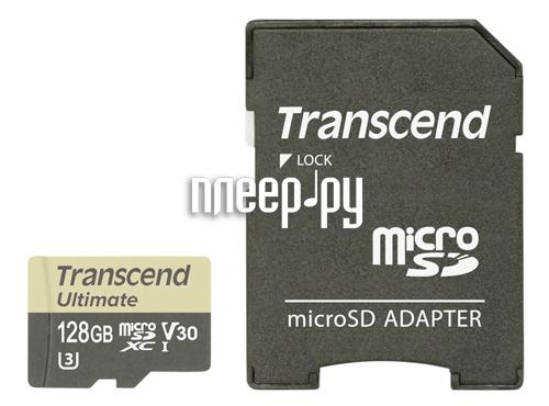 Карта памяти 128Gb - Transcend Ultimate Micro Secure Digital XC Class 10 UHS-I TS128GUSDU3M с переходником под SD