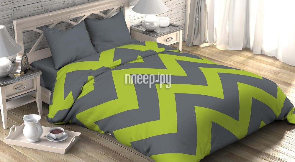 Постельное белье Этель Зелёный шеврон Комплект Евро Поплин 2565785