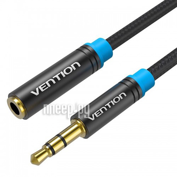 Аксессуар Vention аудио Jack 3.5 mm M / Jack 3.5 mm F Black 1m VAB-B06-B100-M