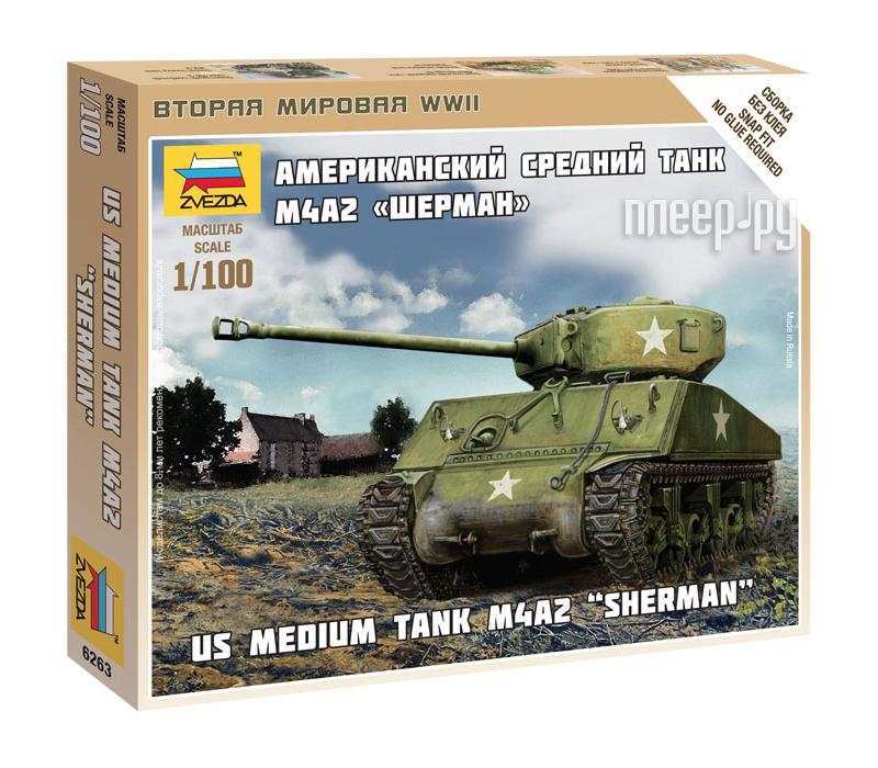 Сборная модель Zvezda Американский средний танк Шерман М4А2 6263