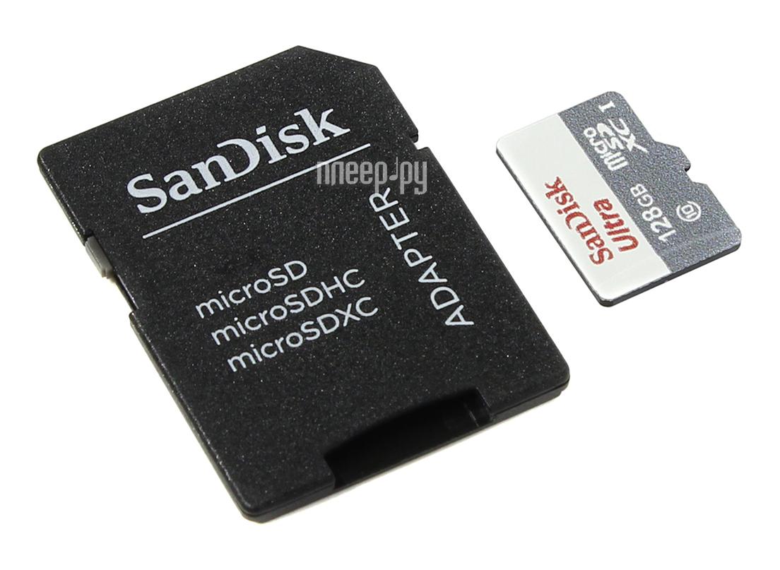 Карта памяти 128Gb - SanDisk - Micro Secure Digital Ultra Class 10 UHS-I SDSQUNB-128G-GN6TA с переходником под SD