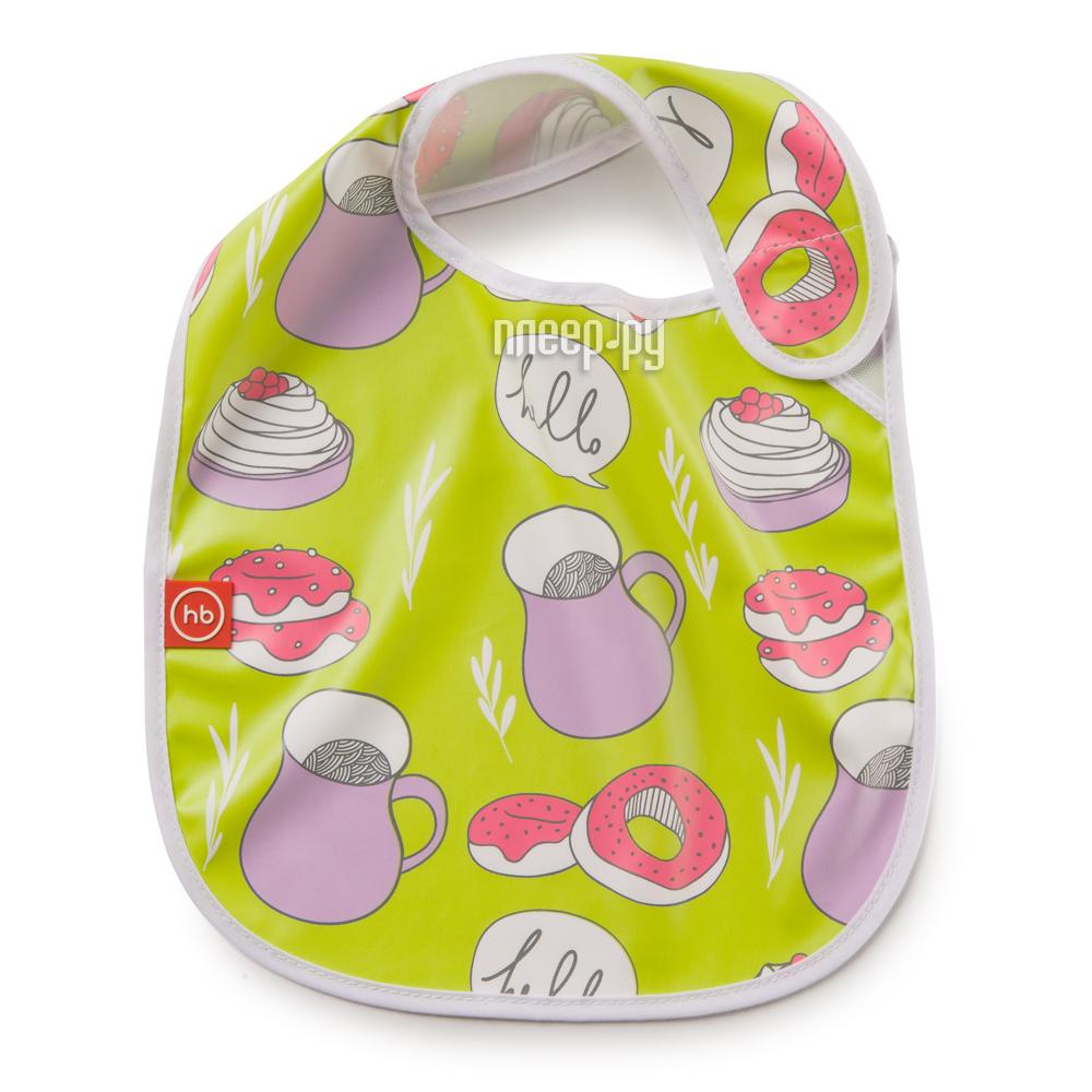Нагрудник на липучке Happy Baby Waterproof Baby Bib Lime 16009