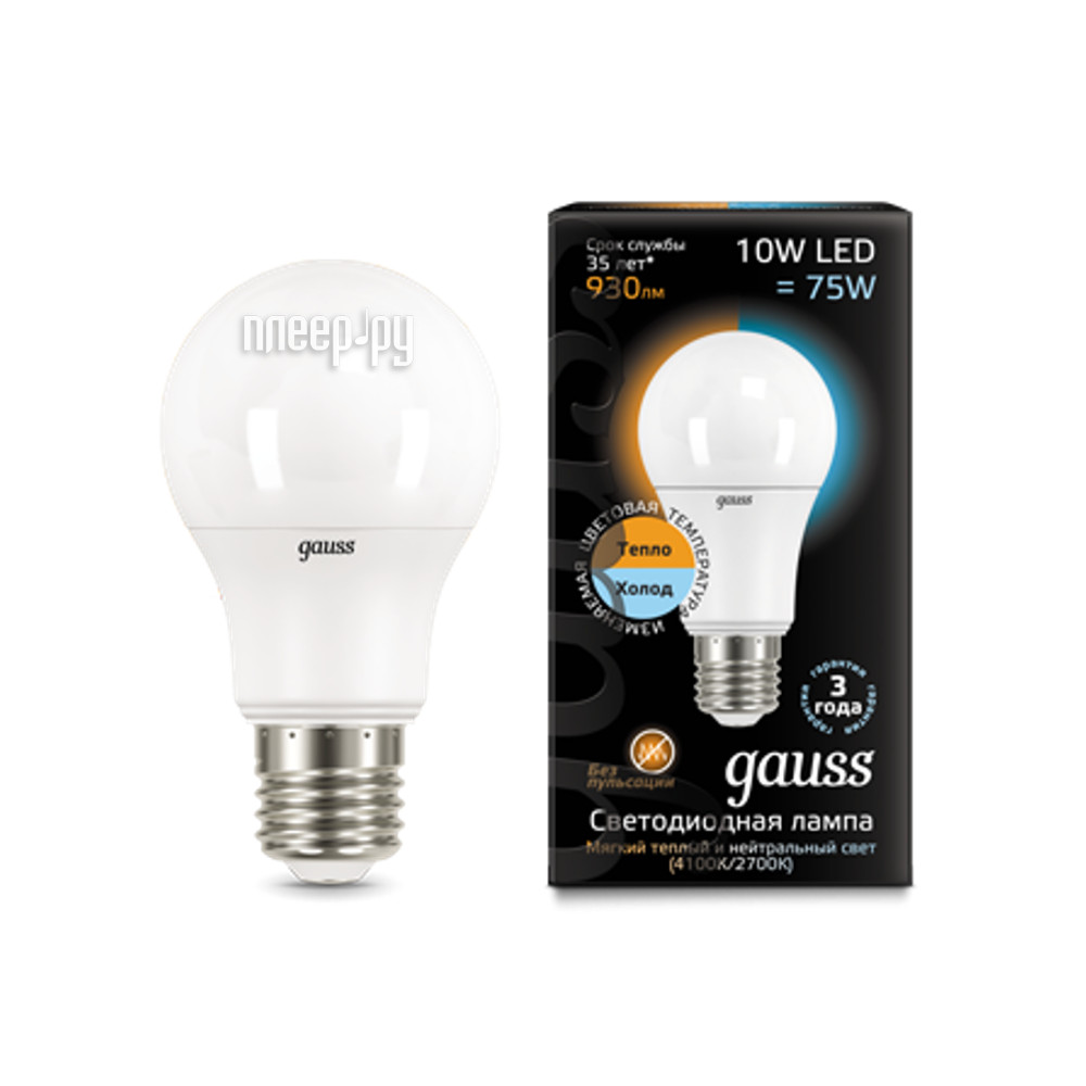 Лампочка Gauss LED 10W E27 2700K / 4100K CTC 102502110-T