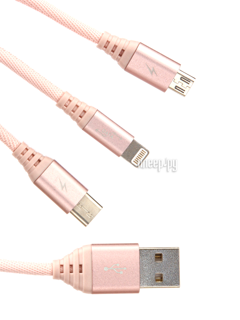Аксессуар Ainy 5 / 5С / 5S / 6 / 6 Plus / iPad Mini / Air + Micro USB + Type-C Pink FA-092D