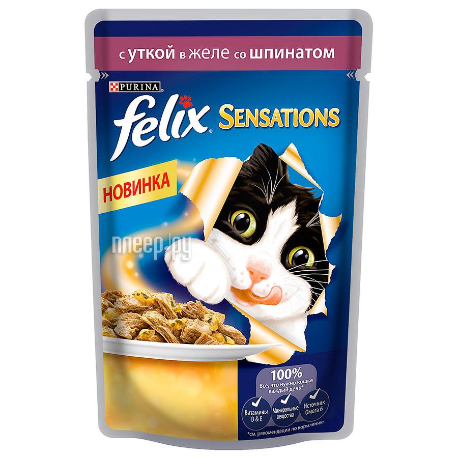 Корм Felix Sensations Утка и шпинат 85g для кошек 12318963