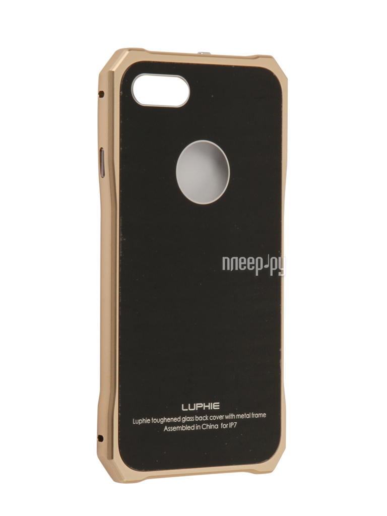 Аксессуар Чехол Luphie для iPhone 7 Toughend Glass Back + Metal Frame Black-Gold PX / LUPH-IPH7-TGBMF-bg