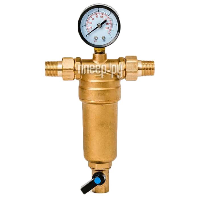 Фильтр для воды Гейзер Бастион 7508165201 1 / 2 для горячей воды с манометром d53 32677
