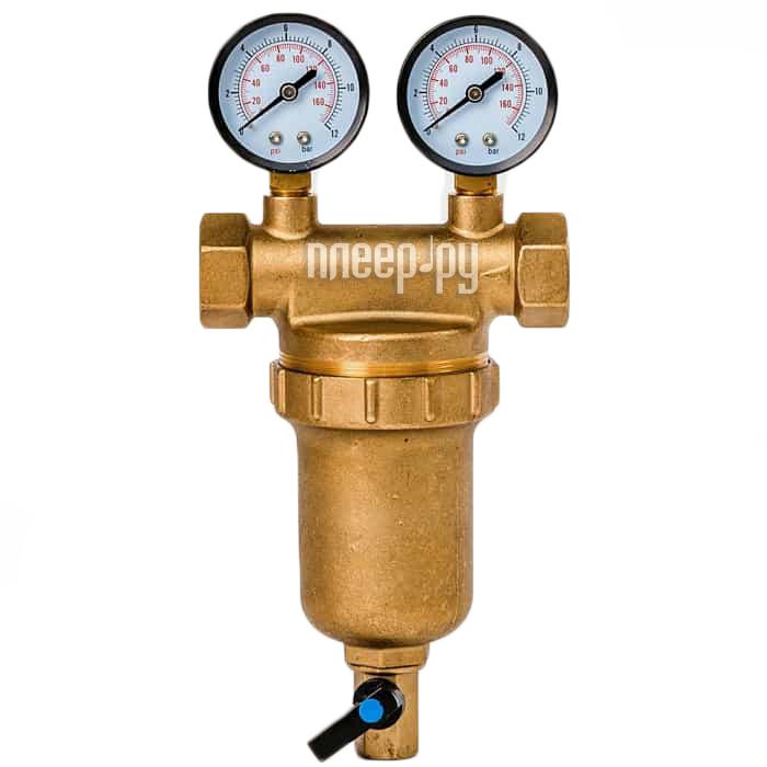Фильтр для воды Гейзер Бастион 7508145201 3 / 4 для горячей воды с двумя манометрами d76 32685