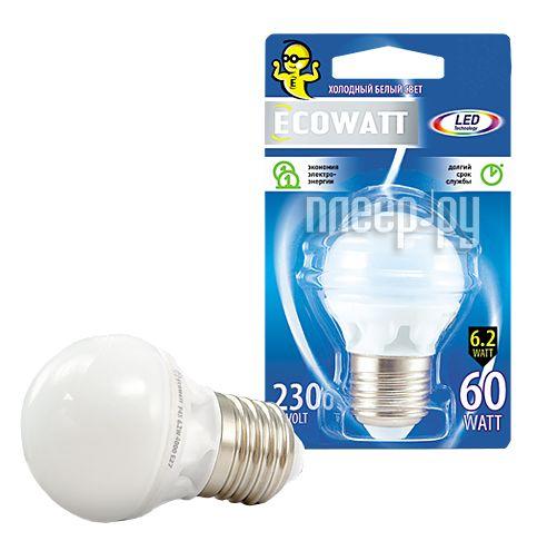 Лампочка ECOWATT Шарик P45 E27 230V аналог 60W 4000K Cold White