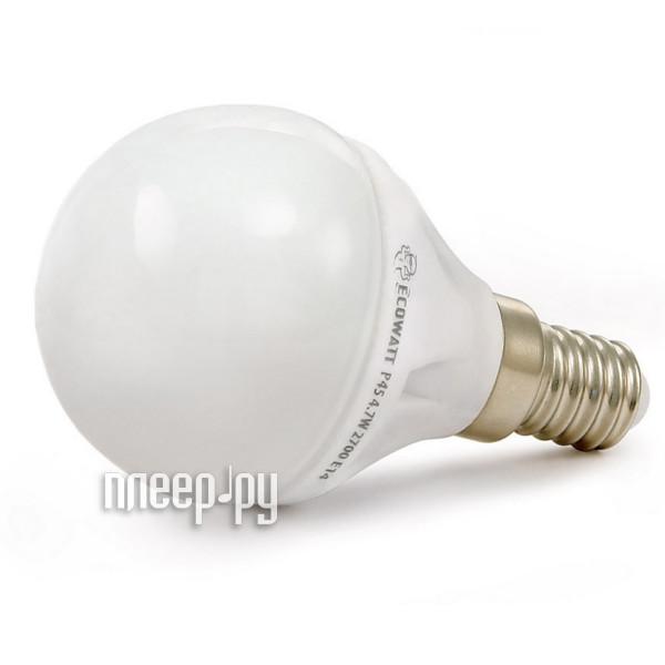 Лампочка ECOWATT Шарик P45 E14 230V аналог 60W 4000K Cold White