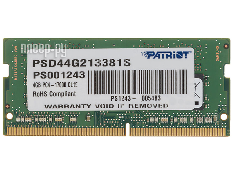 Модуль памяти Patriot Memory DDR4 DIMM 2133MHz PC4-17000 CL15 Single Rank - 4Gb PSD44G213381S