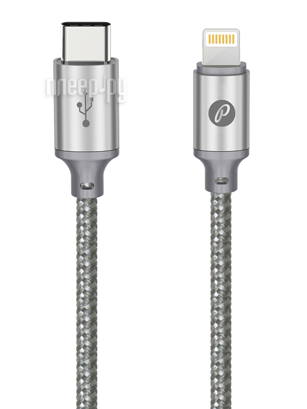 Аксессуар Partner USB Type-C - Lightning 1m Grey ПР038387