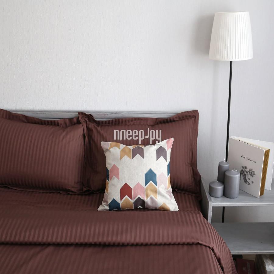 Постельное белье Этель Basic Комплект 2 спальный Chocolate Страйп-Сатин 2332506
