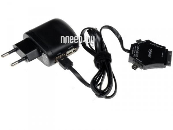 Зарядное устройство Ginzzu GA-3212UB/S3 2xUSB 2500mAh + кабель APPLE / miniUSB / microUSB сетевое