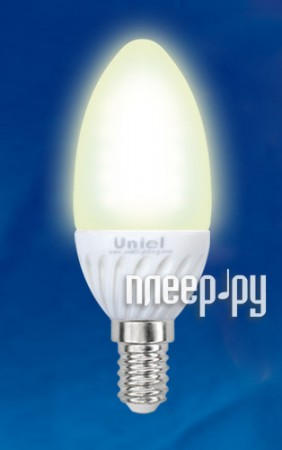 Лампочка Uniel Ceramic LED-C37-3W/CW/E14 200 Lm (холодный белый, 3500-4500К)  Pleer.ru  97.000