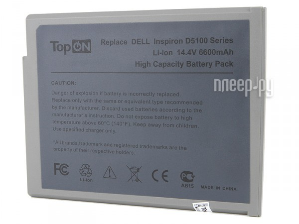 Аккумулятор TopON TOP-DL5100 6600mAh – усиленный! for DELL Inspiron 1100 / 1150 / 5100 / Latitude 100L  Pleer.ru  1849.000