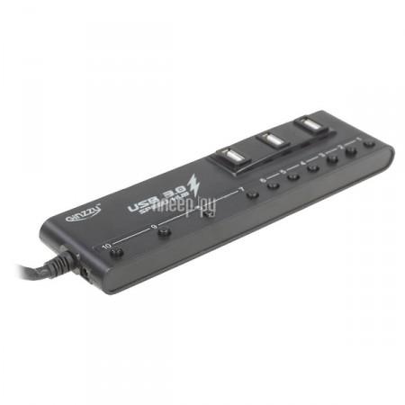 Хаб USB Ginzzu GR-380UAB 10-ports + Зарядное устройство сетевое USB-2x Ginzzu GA3212UB  Pleer.ru  1020.000