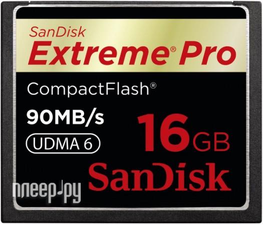 Карта памяти 16Gb - Sandisk 600x Extreme Pro CF 90MB/s - Compact Flash SDCFXP-016G-X46  Pleer.ru  4000.000