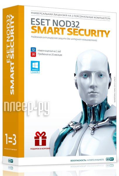 Программное обеспечение ESET NOD32 Smart Security + Bonus + расширенный функционал - универсальная лицензия на 1 год на 3PC или продление на 20 месяцев NOD32-ESS-1220-BOX-1-1  Pleer.ru  1210.000