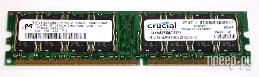 Модуль памяти Crucial PC3-3200 DIMM DDR 400MHz - 1Gb CT12864Z40B  Pleer.ru  991.000