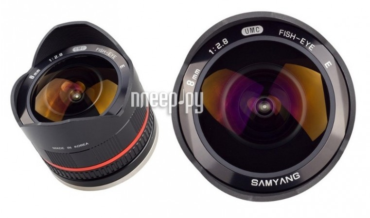 Объектив Samyang FujiFilm X MF 8 mm F/2.8 Fish-eye UMC Black  Pleer.ru  12938.000
