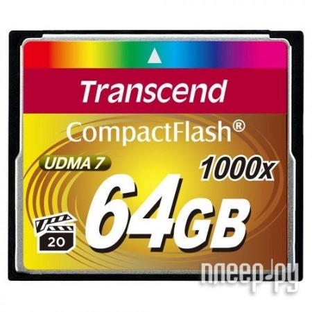 Карта памяти 64Gb - Transcend 1000x - Compact Flash TS64GCF1000