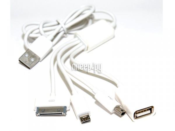 Аксессуар 5bites AP-008 miniUSB/microUSB/iPhone + 1-port HUB  Pleer.ru  619.000
