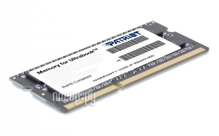 Модуль памяти Patriot Memory PC3-12800 SO-DIMM DDR3 1600MHz - 8Gb PSD38G1600L2S  Pleer.ru  3206.000