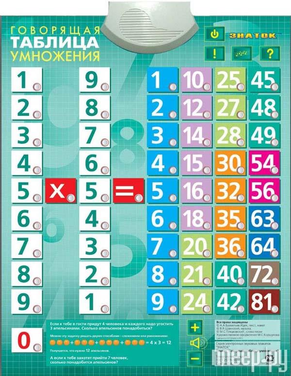Звуковой плакат Знаток Таблица умножения PL-03-UM  Pleer.ru  459.000