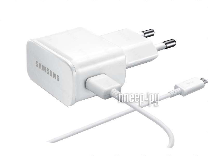Аксессуар Зарядное устройство сетевое Samsung microUSB 2000mA White ETA-U90EWEGSTD  Pleer.ru  1054.000