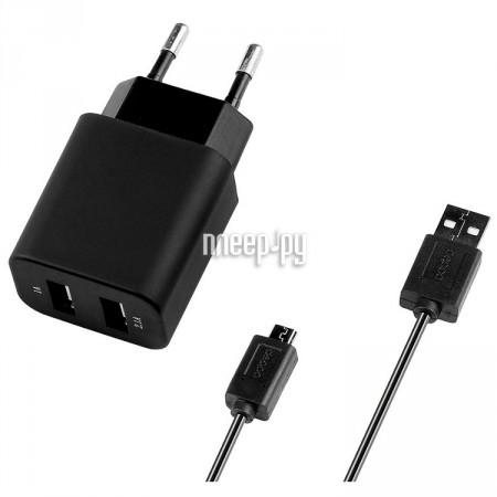 Зарядное устройство Deppa Ultra 2xUSB компакт 2100mA сетевое + кабель microUSB Black