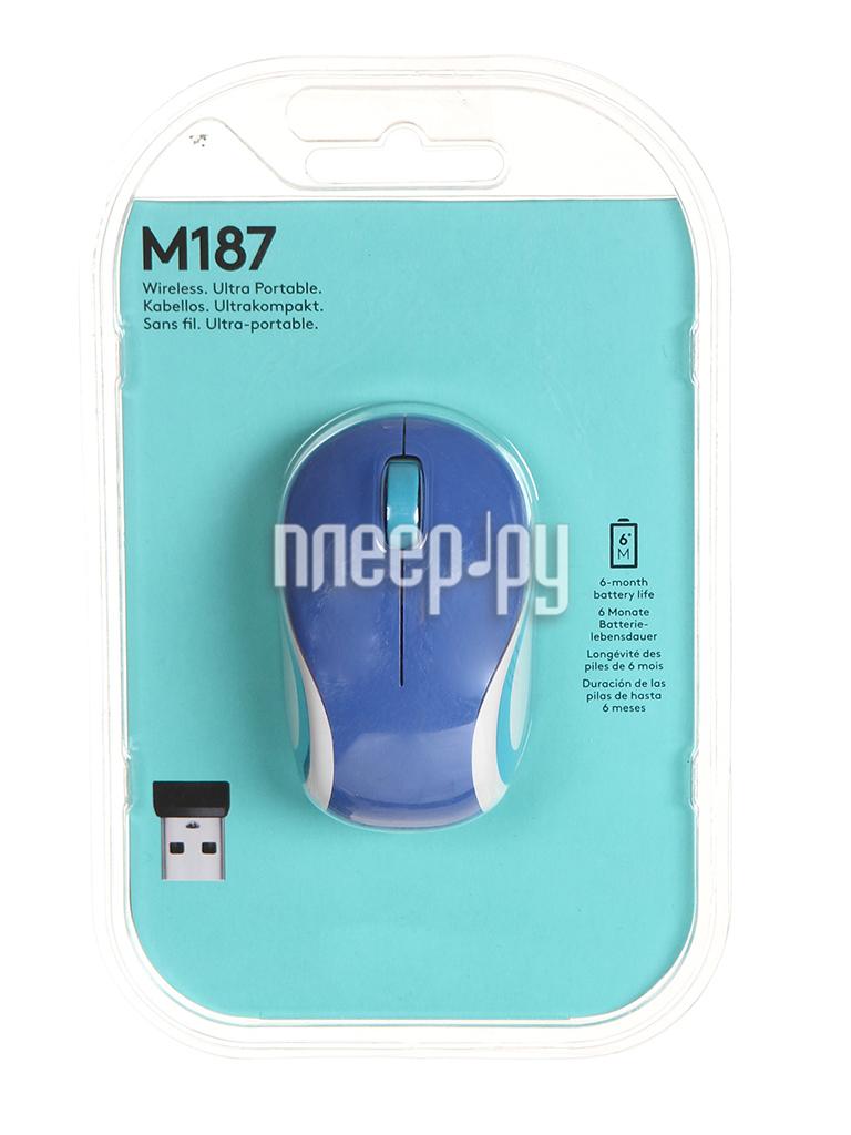 Мышь Logitech Wireless Mini Mouse M187 Blue 910-002738