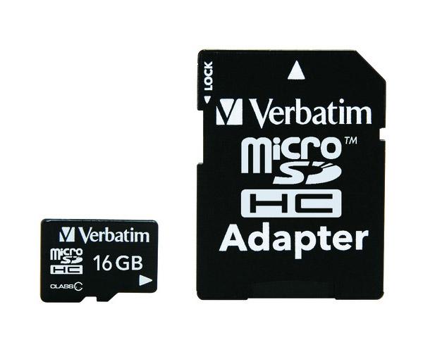 Фото - Карта памяти 16Gb - Verbatim - Micro Secure Digital HC Class 10 44082 с переходником под SD карта памяти 8gb perfeo micro secure digital hc class 10 pf8gmcsh10aes с переходником под sd