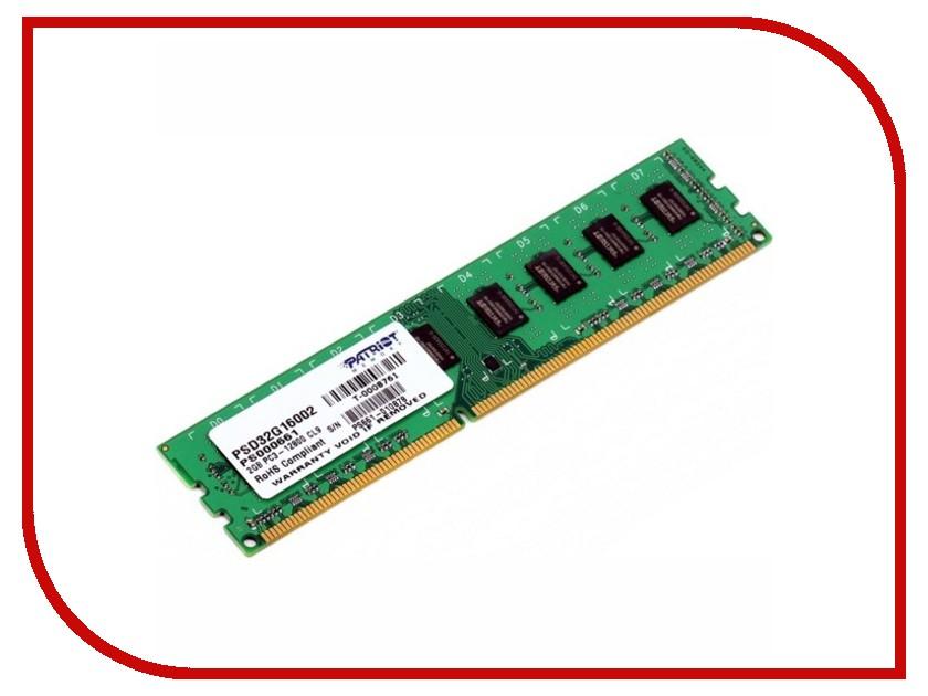 Купить Модуль памяти Patriot Memory DDR3 DIMM 1600MHz PC3-12800 - 2Gb PSD32G16002 / 81, PC3-12800 DIMM