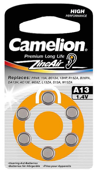 Батарейки Camelion ZA13 BL-6 / A13-BP6 1.4V 280mAh