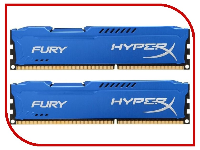 Купить Модуль памяти Kingston HyperX Fury Series DDR3 DIMM 1600MHz PC3-12800 CL10 - 16Gb KIT (2x8Gb) HX316C10FK2/16, HyperX Fury Series PC3-12800 DIMM DDR3