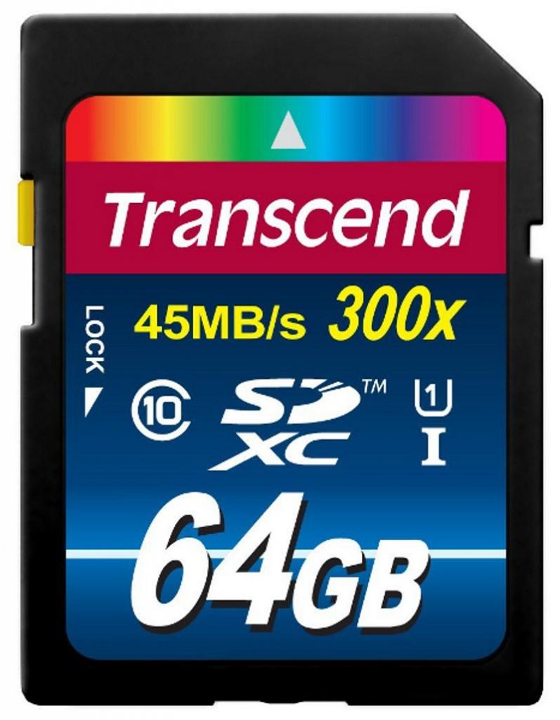 Фото - Карта памяти 64Gb - Transcend High-Capacity Class 10 UHS 1 300X - Secure Digital TS64GSDU1 карта памяти 512gb transcend 300s secure digital xc class