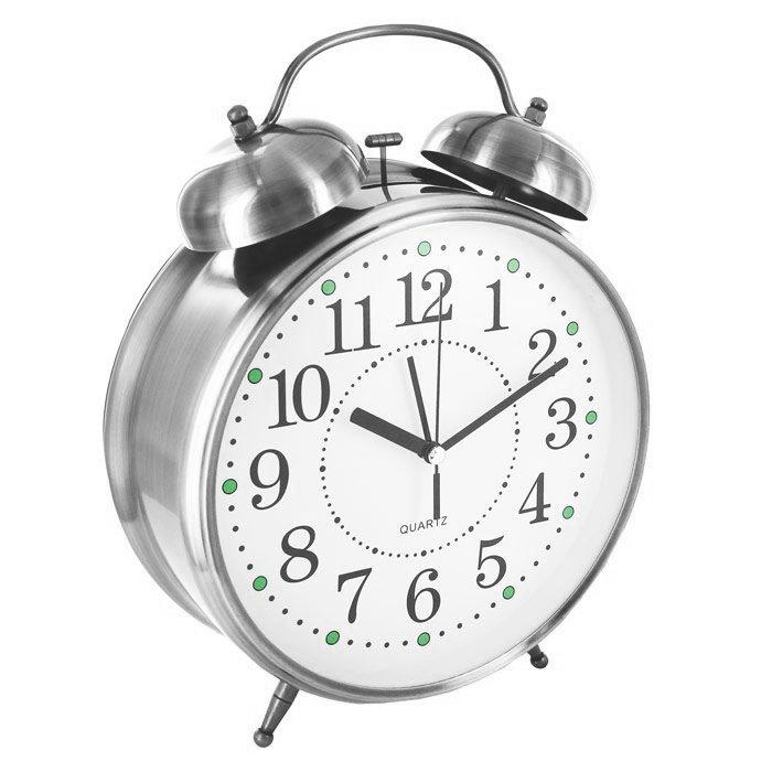 Часы Эврика CBS001-003C10 - Будильник Гигант Nickel