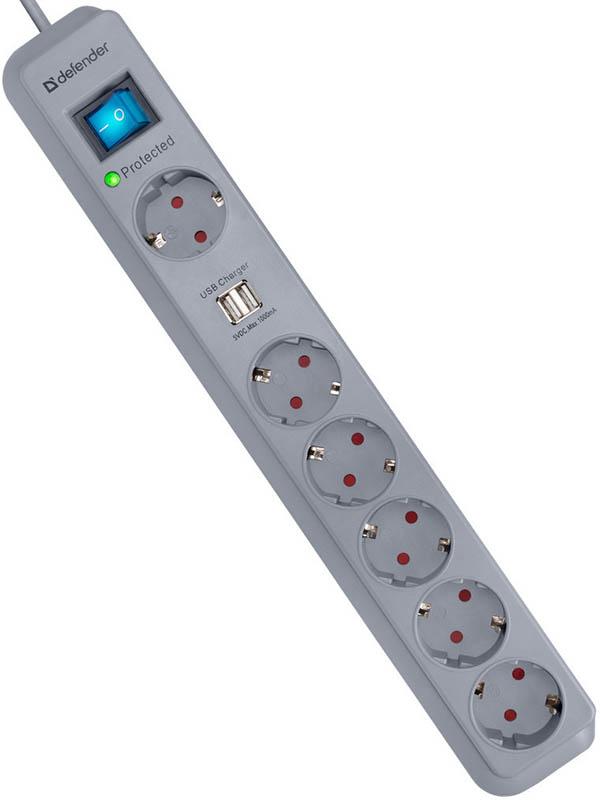Сетевой фильтр Defender DFS 501 6 Sockets 2m 99051