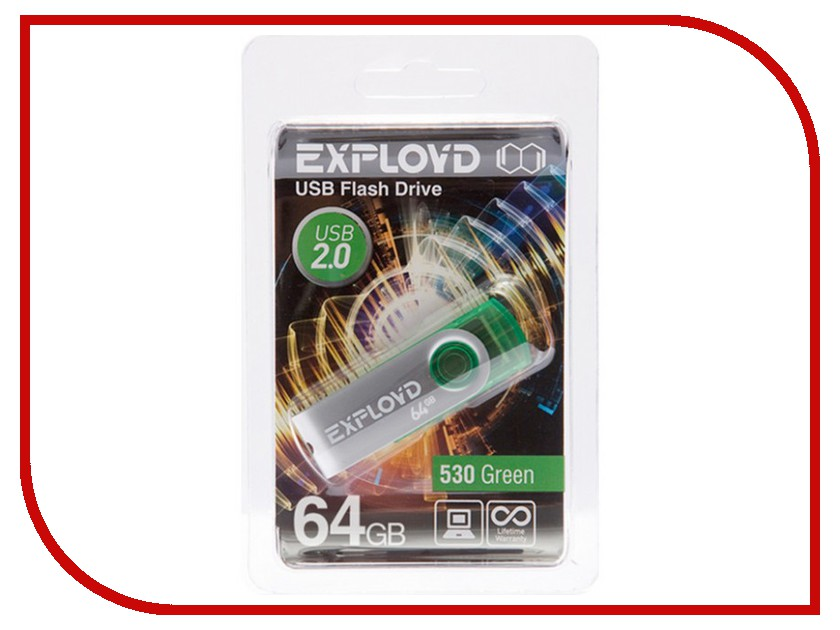 Купить USB Flash Drive 64Gb - Exployd 530 Green EX064GB530-G