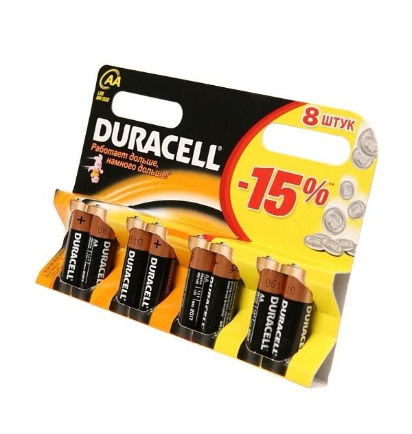Батарейка AA - Duracell LR6 BL8 (8 штук)