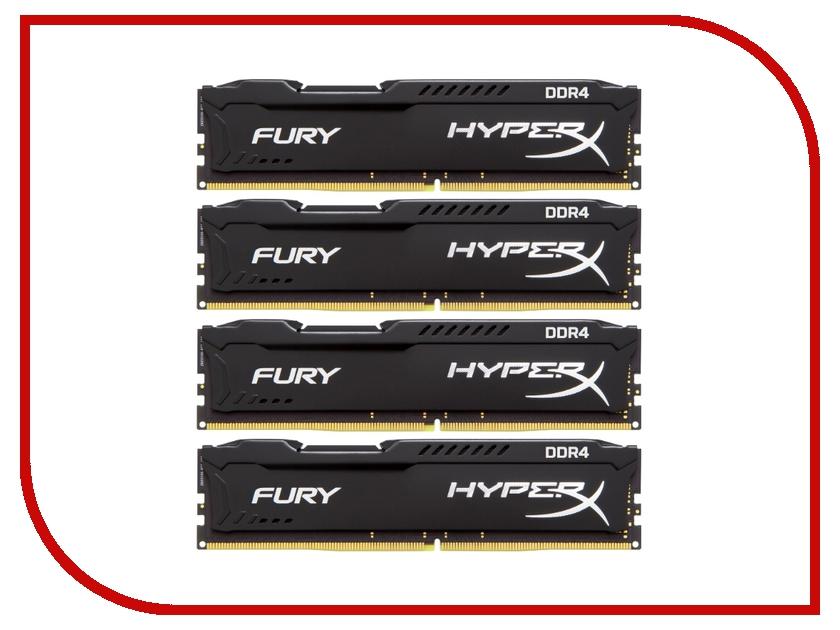 Модуль памяти Kingston HyperX Fury Black PC4-19200 DIMM DDR4 2400MHz CL15 - 16Gb KIT (4x4Gb) HX424C15FBK4/16  - купить со скидкой