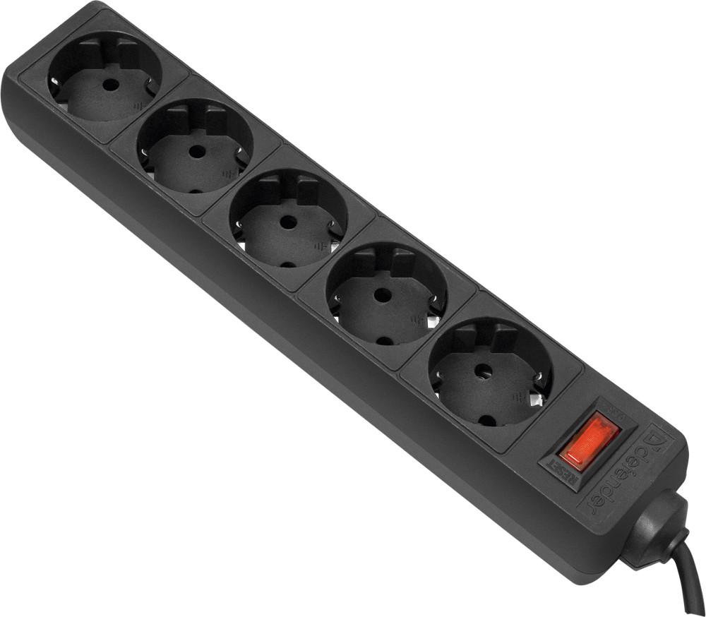 Сетевой фильтр Defender ES 1.8 5 Sockets 1.8m Black 99484