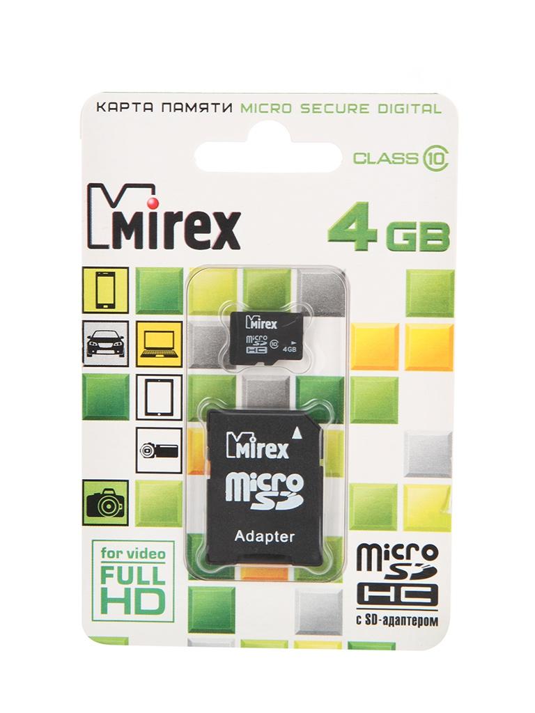 Фото - Карта памяти 4Gb - Mirex - Micro Secure Digital HC Class 10 13613-AD10SD04 с переходником под SD карта памяти hoco micro sd 4gb синяя