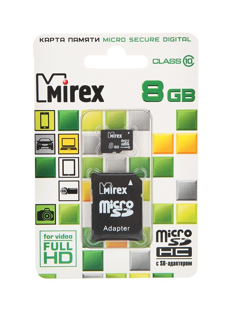 Фото - Карта памяти 8Gb - Mirex - Micro Secure Digital HC Class 10 13613-AD10SD08 с переходником под SD карта памяти 8gb perfeo micro secure digital hc class 10 pf8gmcsh10aes с переходником под sd